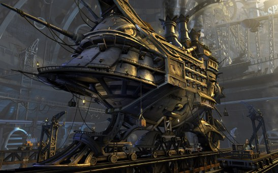 Sci-Fi-Ship-Steampunk-Wallpaper